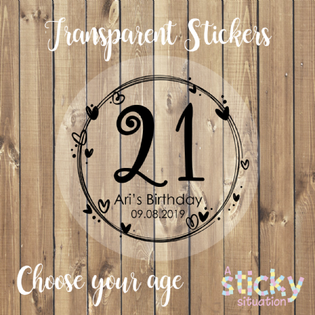 Personalised Transparent Birthday Age Stickers